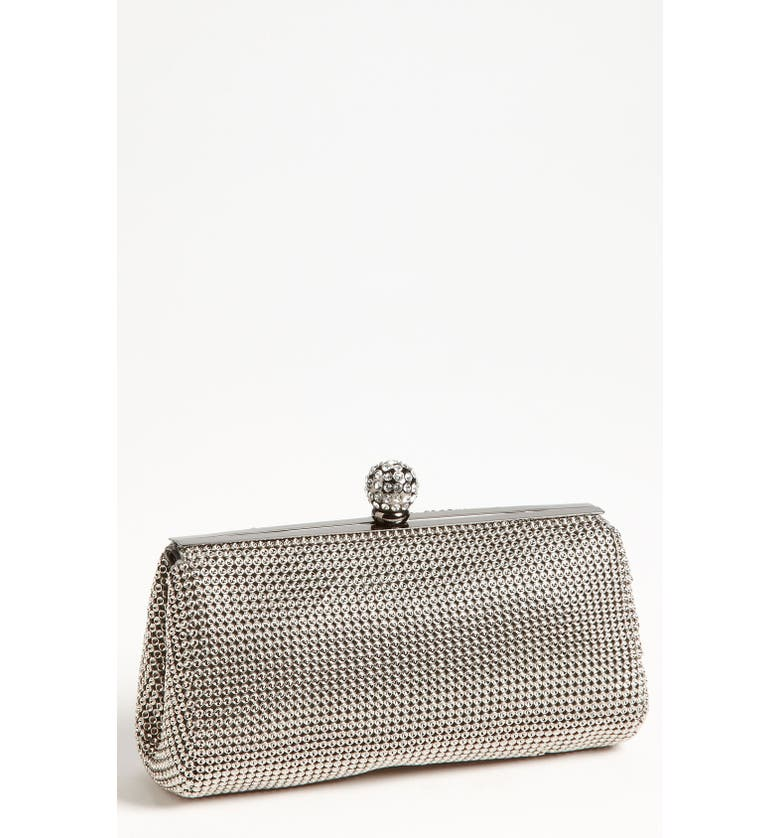 WHITING & DAVIS 'Crystal' Mesh Clutch, Main, color, PEWTER