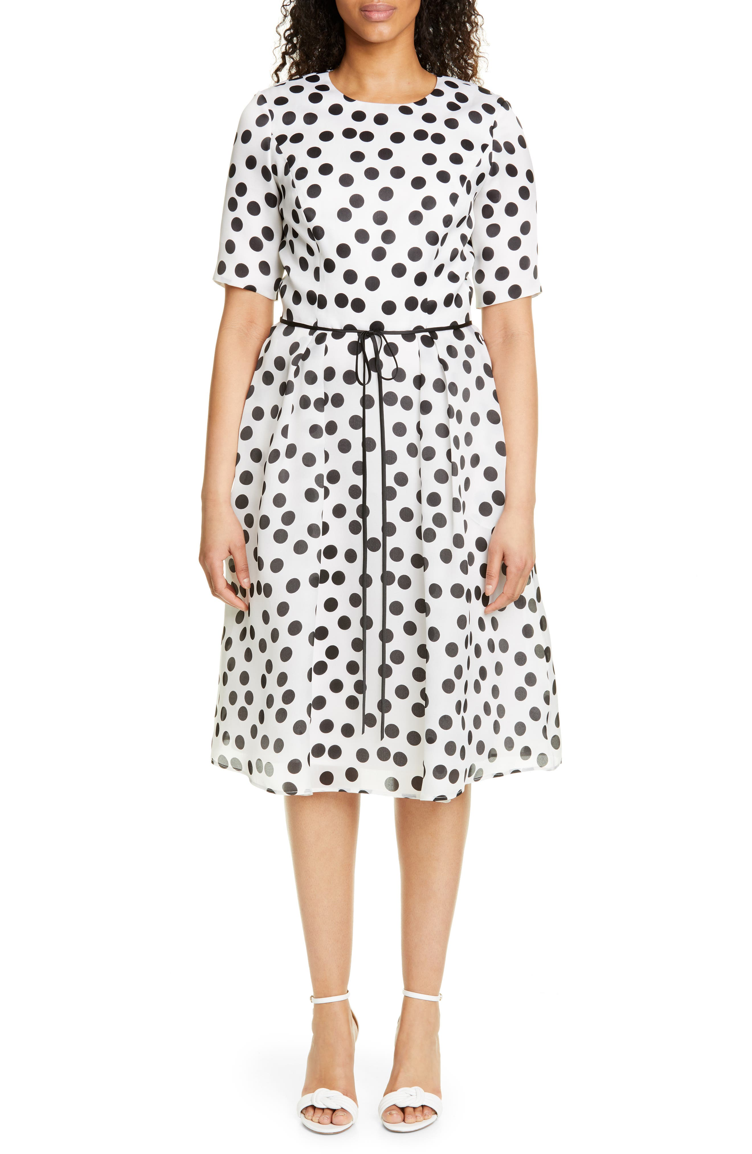 Carolina Herrera Polka Dot Silk Chiffon Cocktail Dress