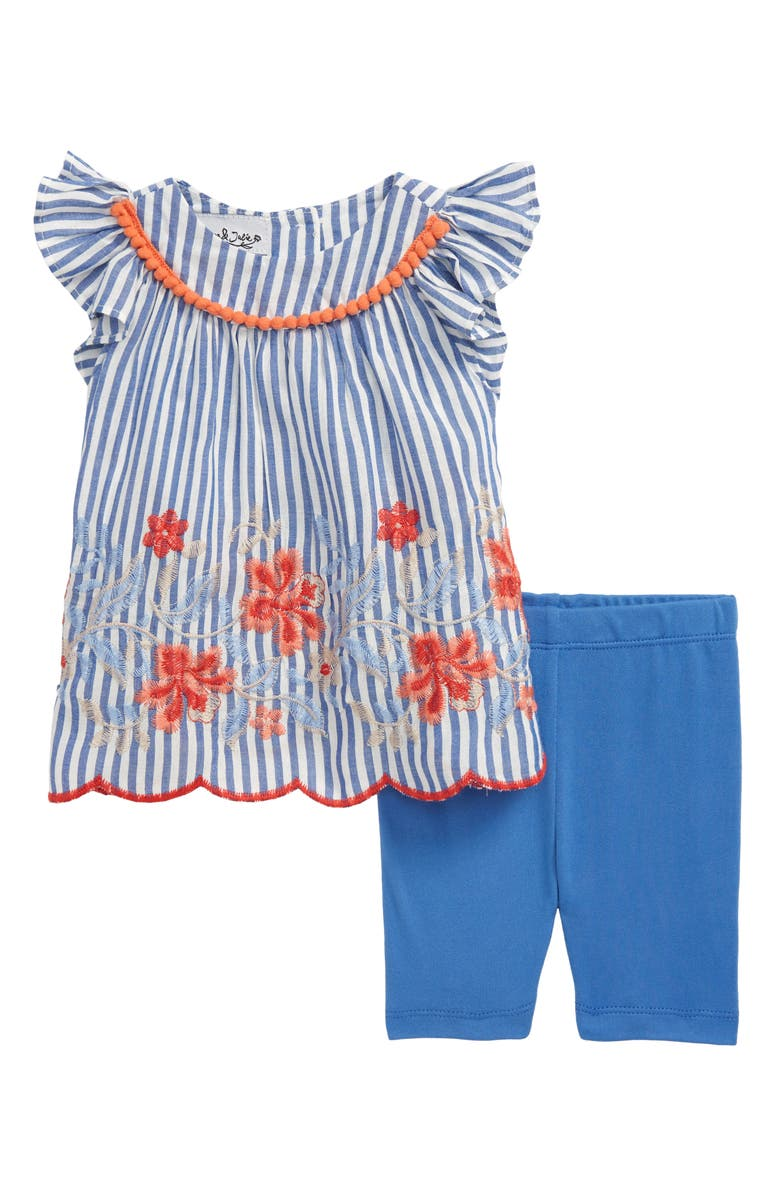 PIPPA & JULIE Embroidered Tunic & Capri Leggings Set, Main, color, BLUE/ WHITE