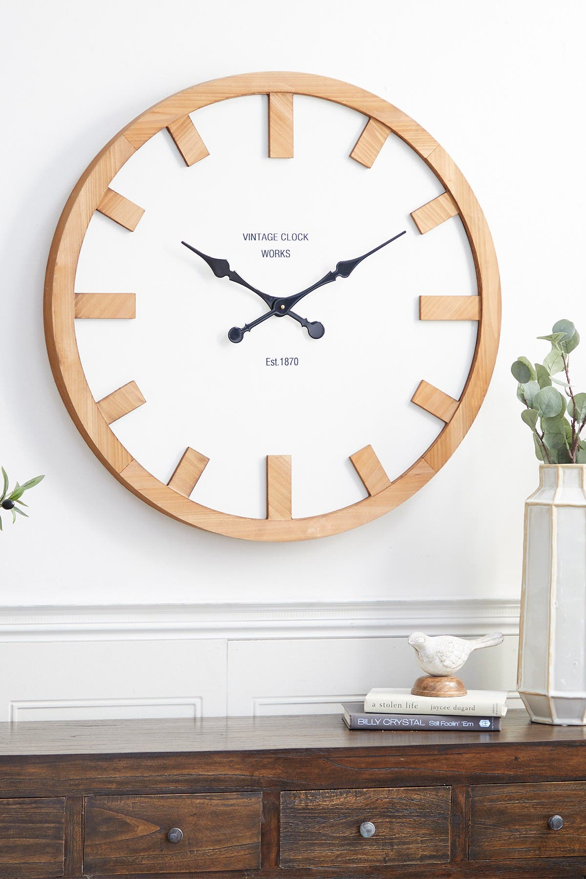 """Image of Willow Row White Glass Contemporary Wall Clock - 30"""" x 30"""" x 2"""""""