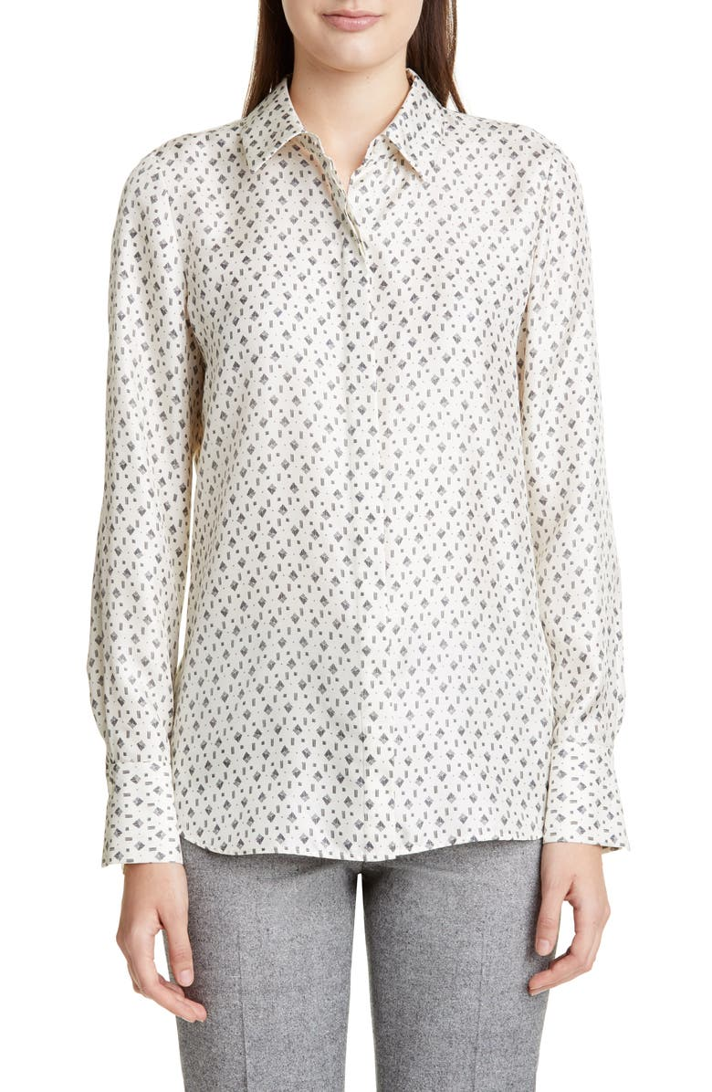LAFAYETTE 148 NEW YORK Scottie Geo Print Silk Blouse, Main, color, 100