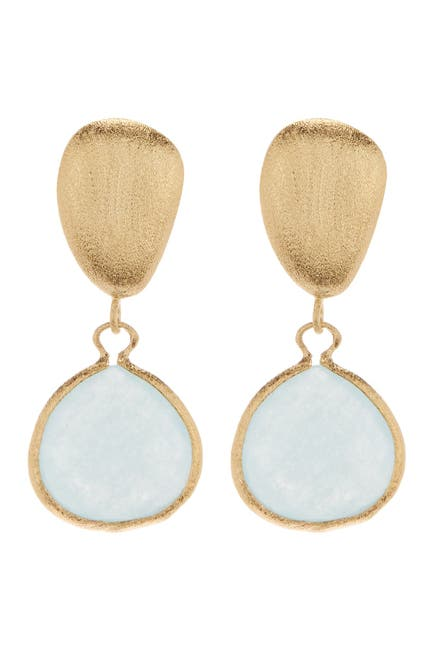 Image of Rivka Friedman Faceted Caribbean Blue Quartzite Teardrop Satin Pebble Post Earrings