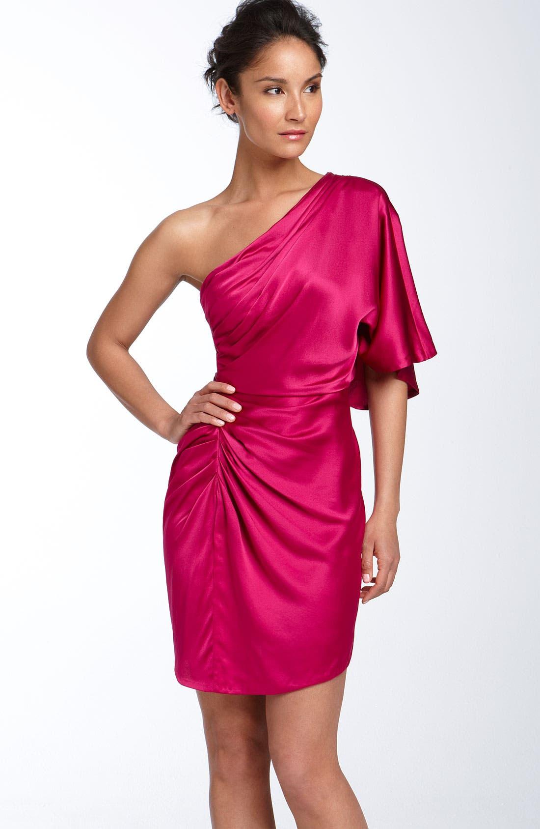 ,                             Draped One Shoulder Stretch Satin Dress,                             Main thumbnail 7, color,                             650