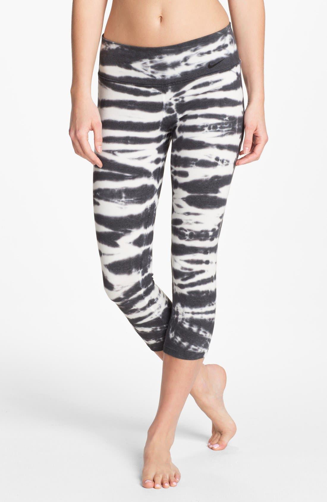 'Twist Tie' Dri-FIT Cotton Capri Pants, Main, color, 010