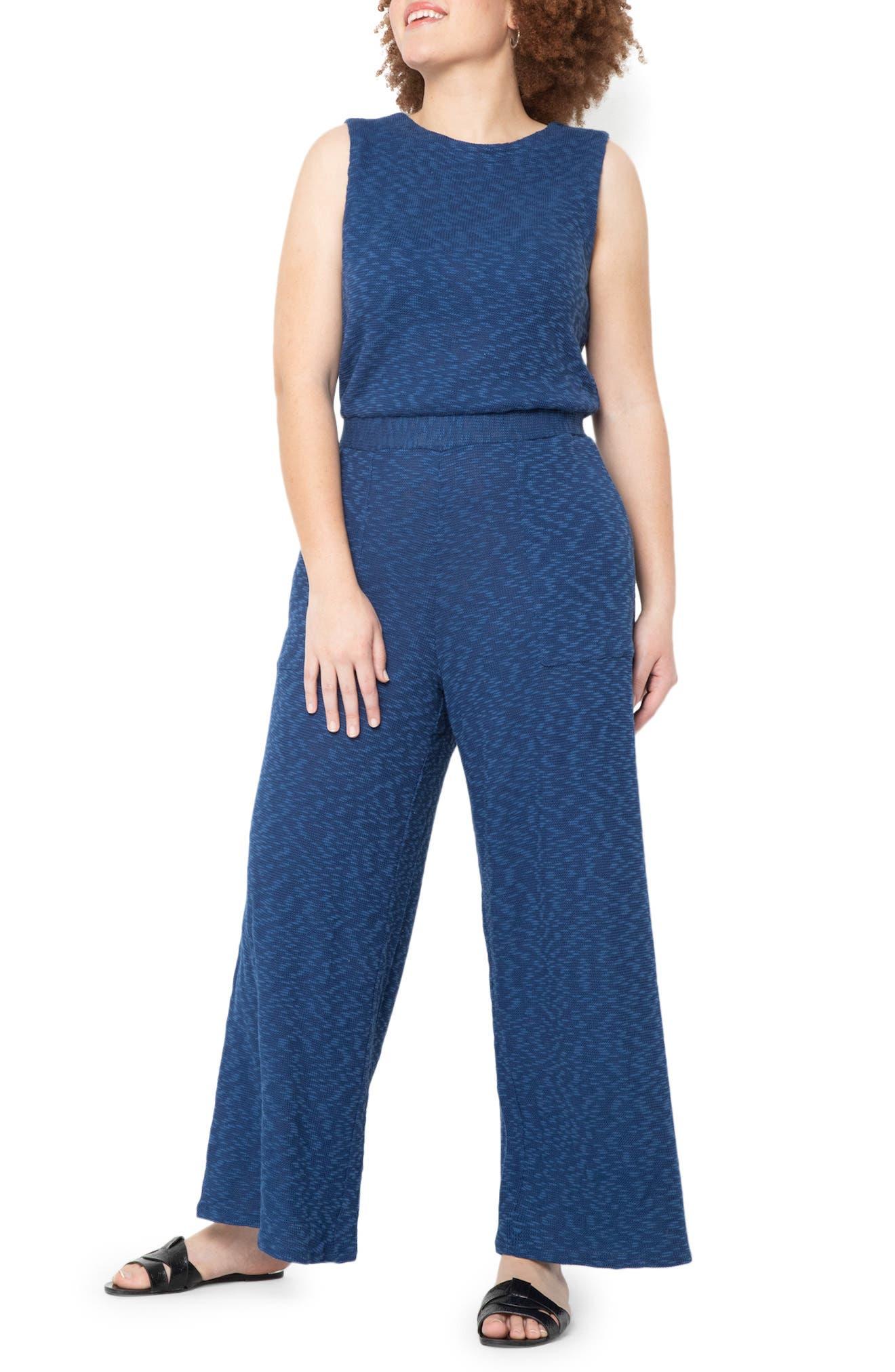 Wide Leg Cotton Blend Knit Jumpsuit