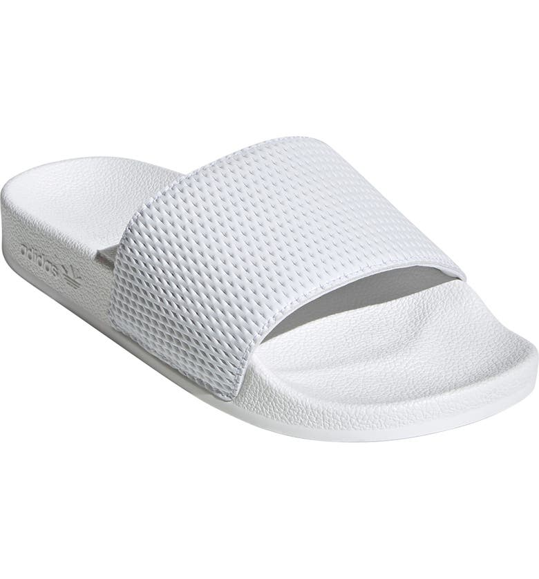 ADIDAS Adilette Textured Sport Slide, Main, color, WHITE/ WHITE/ WHITE