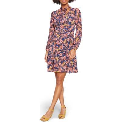 Modcloth Tie-Neck Long Sleeve A-Line Dress, 0 (similar to 16W) - Blue