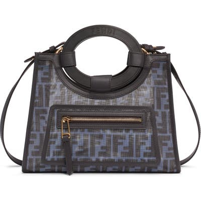 Fendi Small Runaway Printed Logo Mesh Shopper - Black