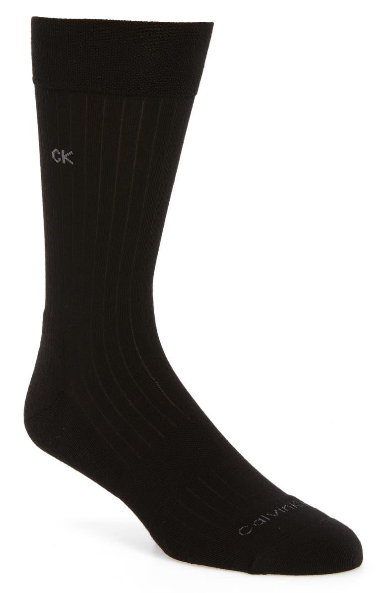 CALVIN KLEIN 'Ultra Fit' Socks, Main, color, BLACK