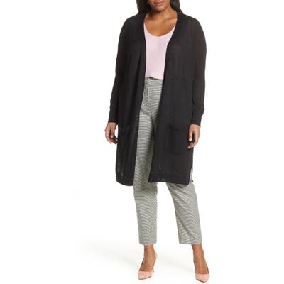 Plus Size Halogen Long Cardigan, Black