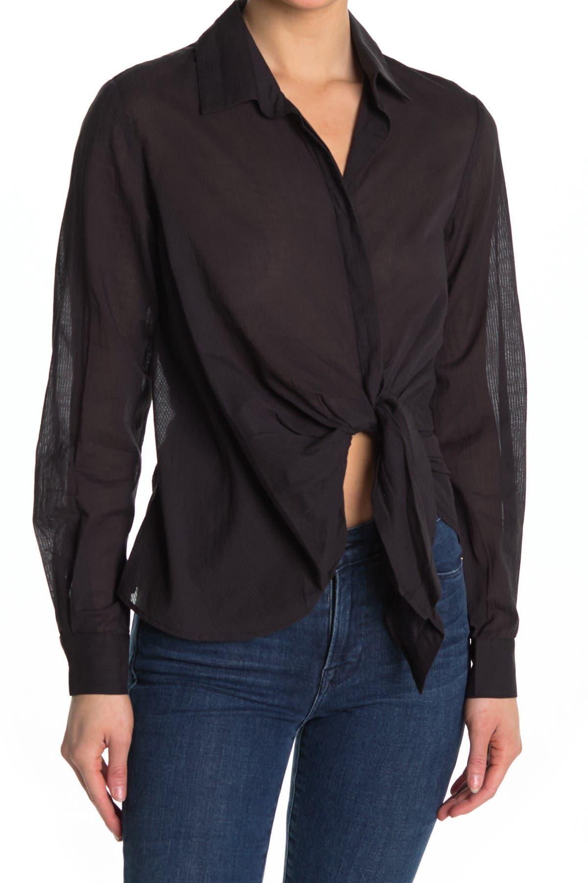 Image of ALLSAINTS Sirena Front Tie Shirt