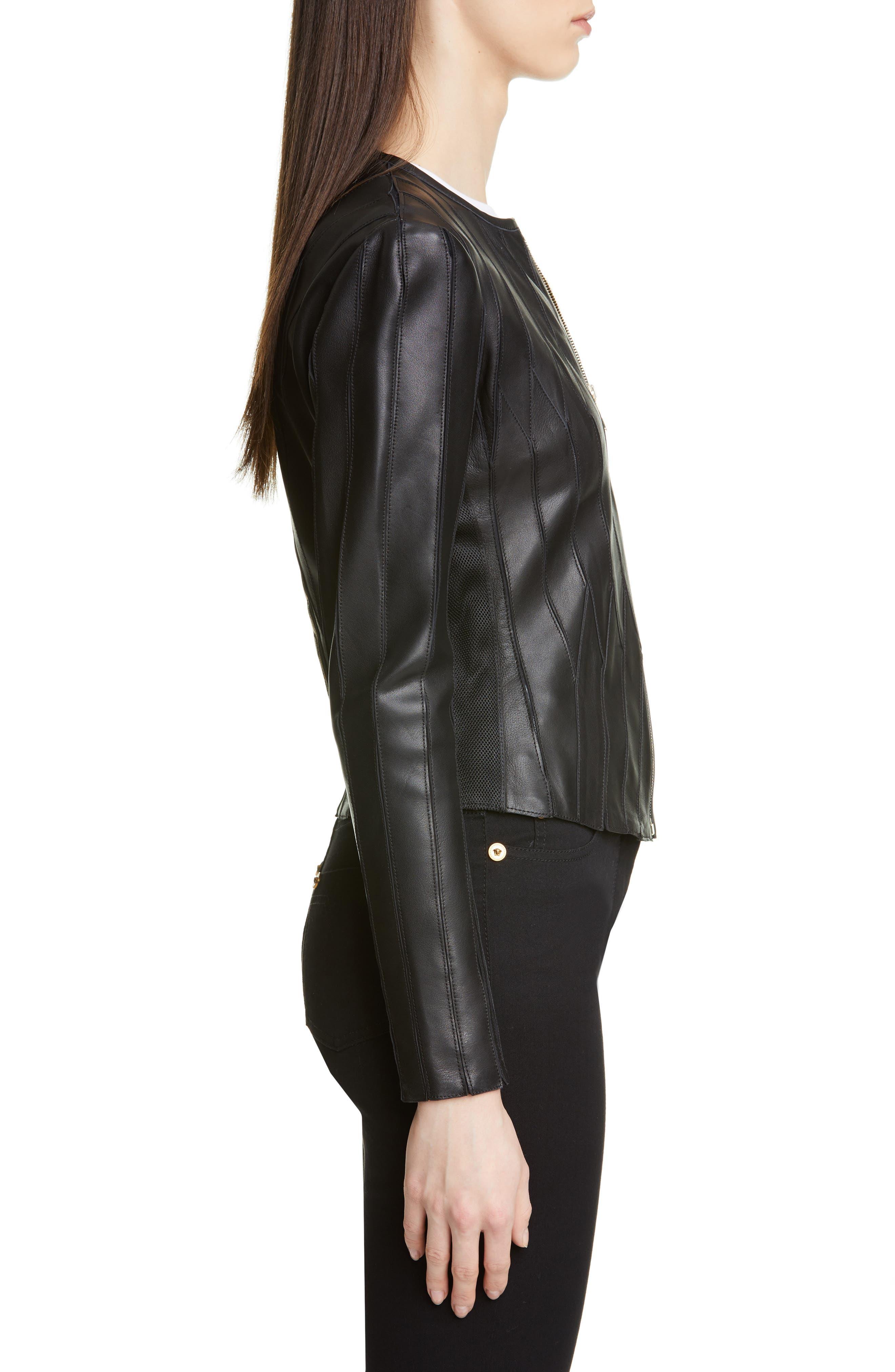 ,                             Logo Leather Jacket,                             Alternate thumbnail 3, color,                             BLACK