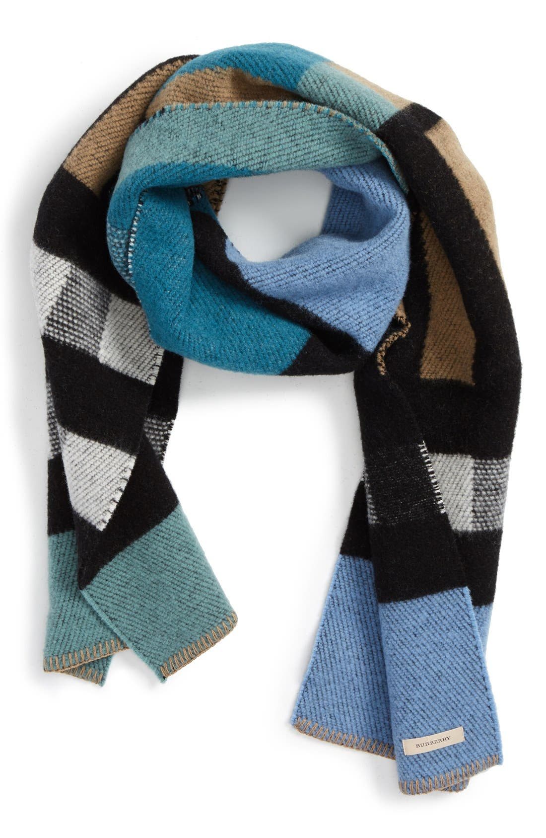 ,                             Check Wool & Cashmere Blanket Scarf,                             Main thumbnail 4, color,                             440