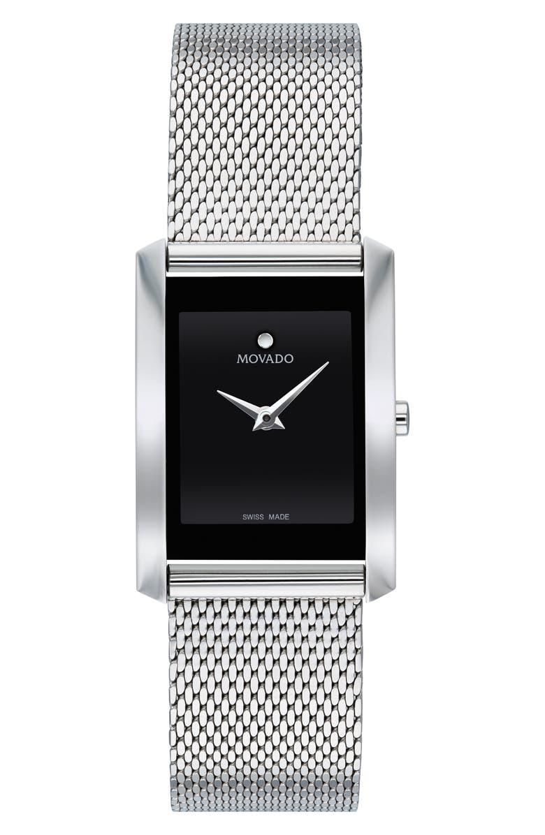 MOVADO La Nouvelle Mesh Strap Watch, 30mm, Main, color, SILVER/ BLACK/ SILVER