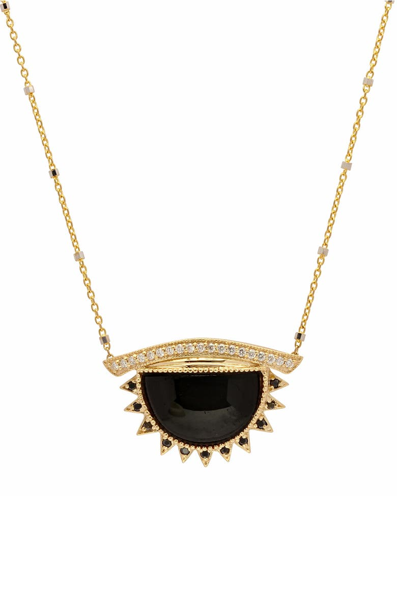 CONGÉS 'I Shield from What I Shouldn't Have to See' Small Black Tourmaline Third Eye Necklace, Main, color, YELLOW GOLD