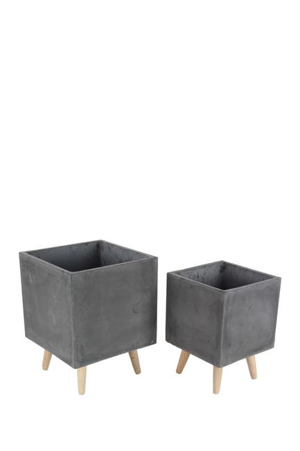 Image of Willow Row Black/Light Brown Clay Planter - Set of 2