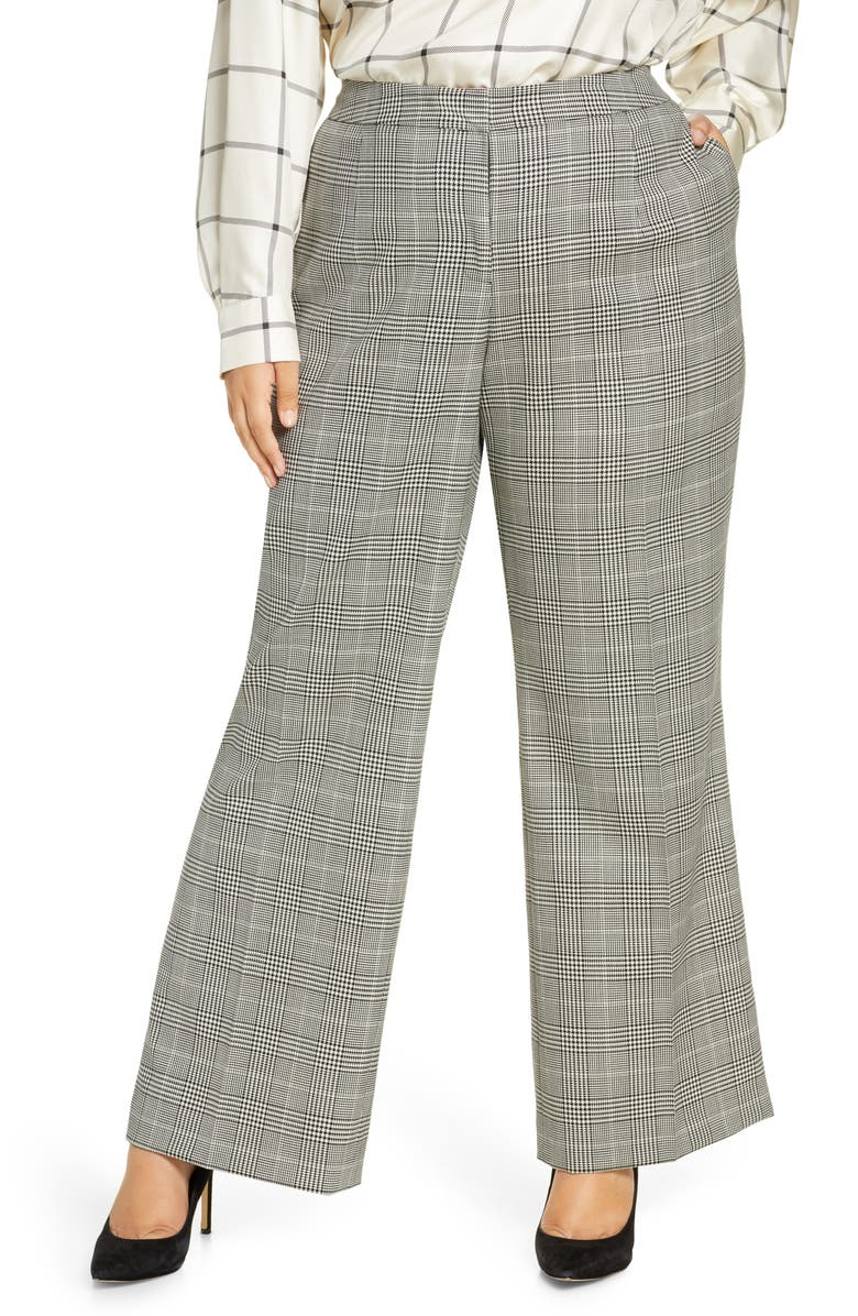 LAFAYETTE 148 NEW YORK Dalton Houndstooth Plaid Stretch Wool Wide Leg Pants, Main, color, BLACK MULTI