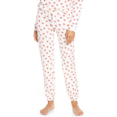 Pj Salvage Heart Print Jogger Pajama Pants, Ivory