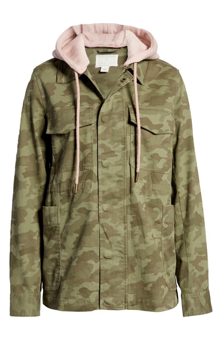 CASLON ? Hooded Utility Jacket, Main, color, OLIVE CAMO