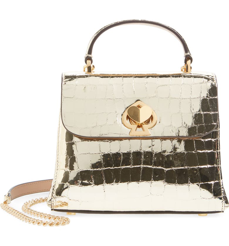 KATE SPADE NEW YORK romy metallic croc-embossed leather top handle bag, Main, color, GOLD