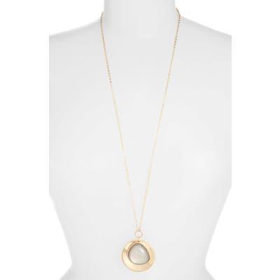 Halogen Iridescent Stone Pendant Necklace
