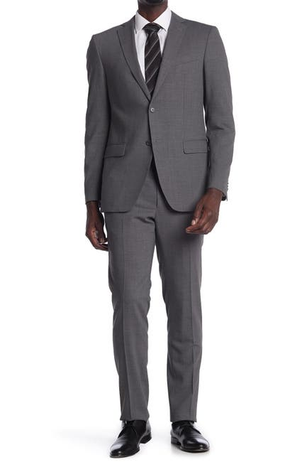 Image of John Varvatos Collection Grey Sharkskin Two Button Notch Lapel Suit