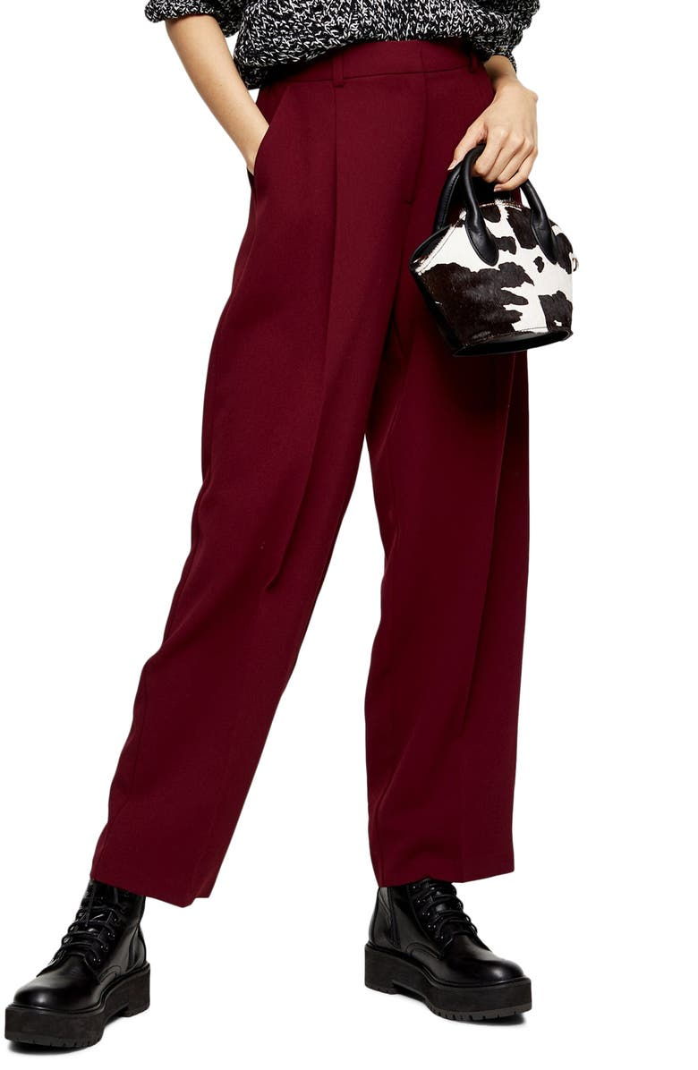 TOPSHOP Lulu Elastic Back Trousers, Main, color, RED