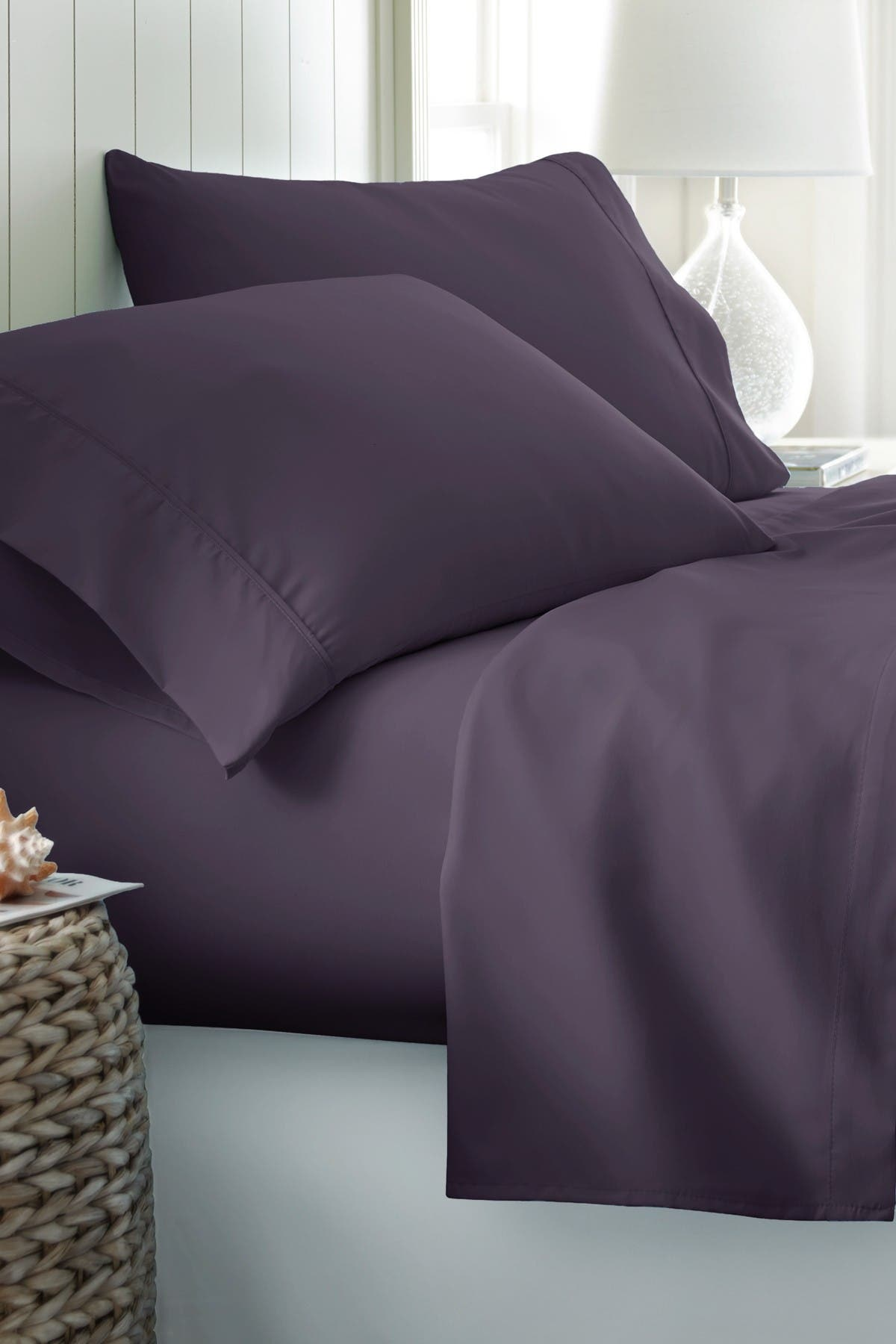 Image of IENJOY HOME King Hotel Collection Premium Ultra Soft 4-Piece Bed Sheet Set - Purple
