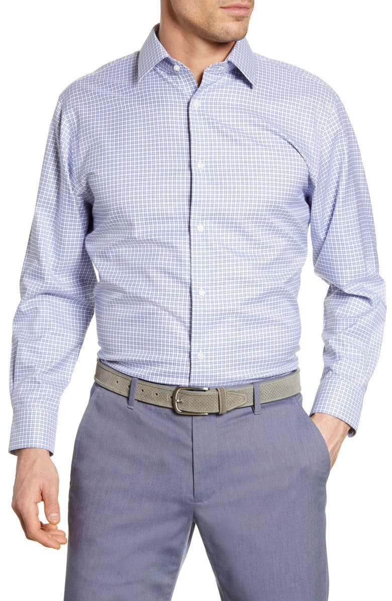 NORDSTROM MEN'S SHOP Traditional Fit Non-Iron Check Dress Shirt, Main, color, BLUE TRUE