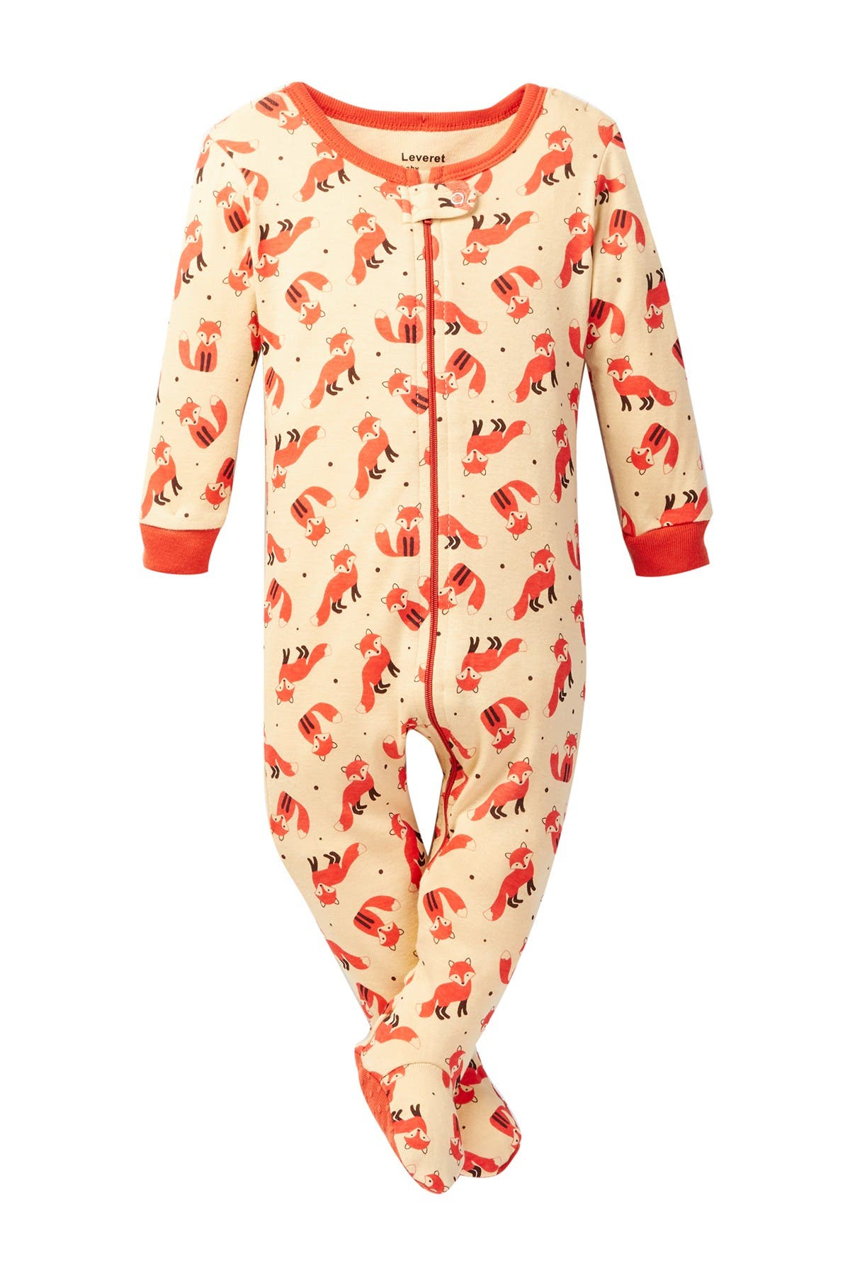 Image of Leveret Fox Print Footed Pajama