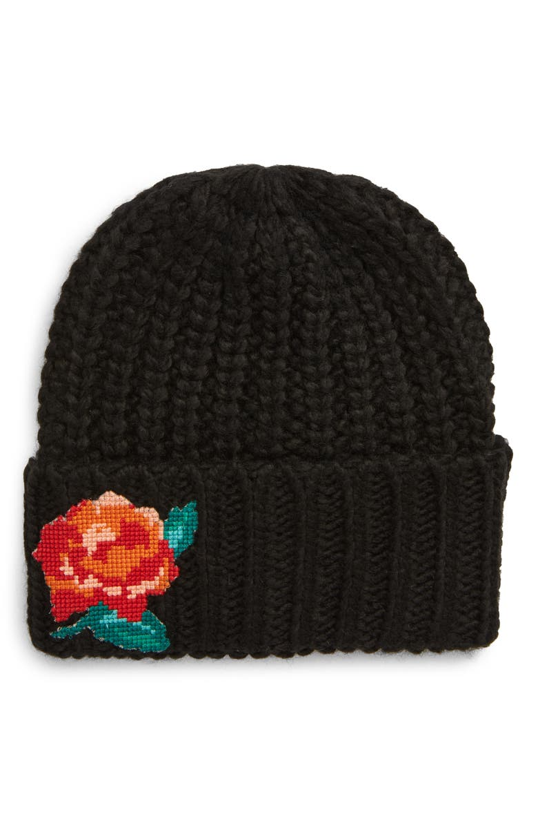 FREE PEOPLE Everything Rosy Floral Appliqué Rib Beanie, Main, color, 001