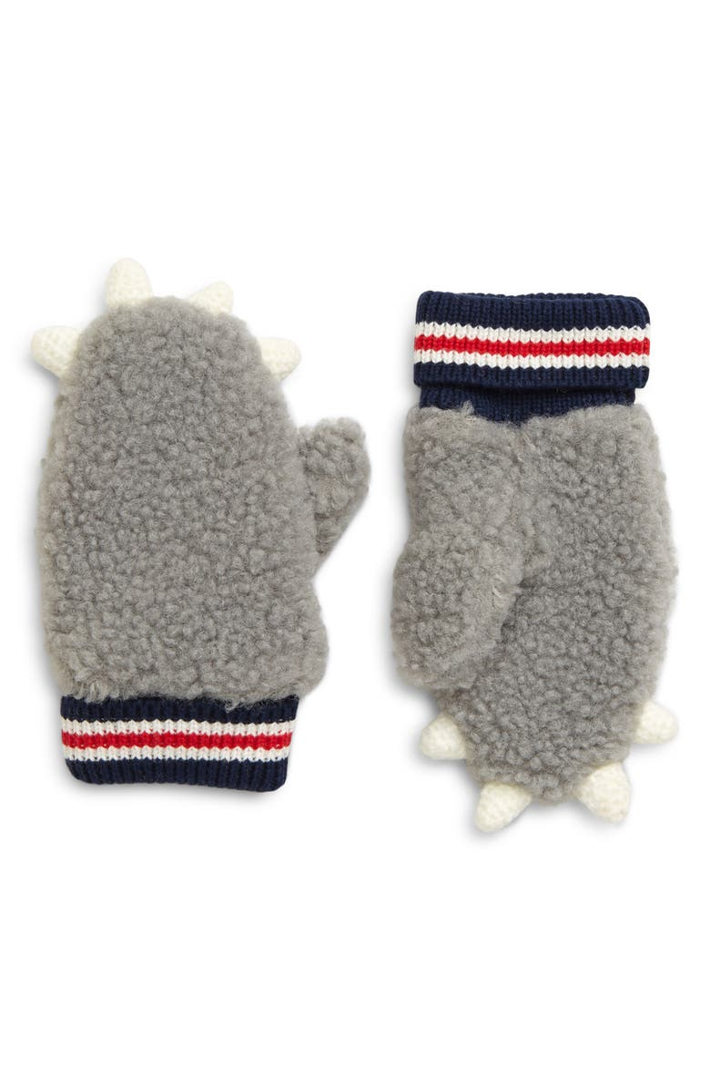 MINI BODEN High Pile Fleece Mittens, Main, color, GREY MARL