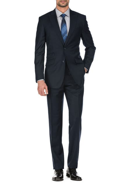 Image of English Laundry Solid Navy Two Button Peak Lapel Wool Suit
