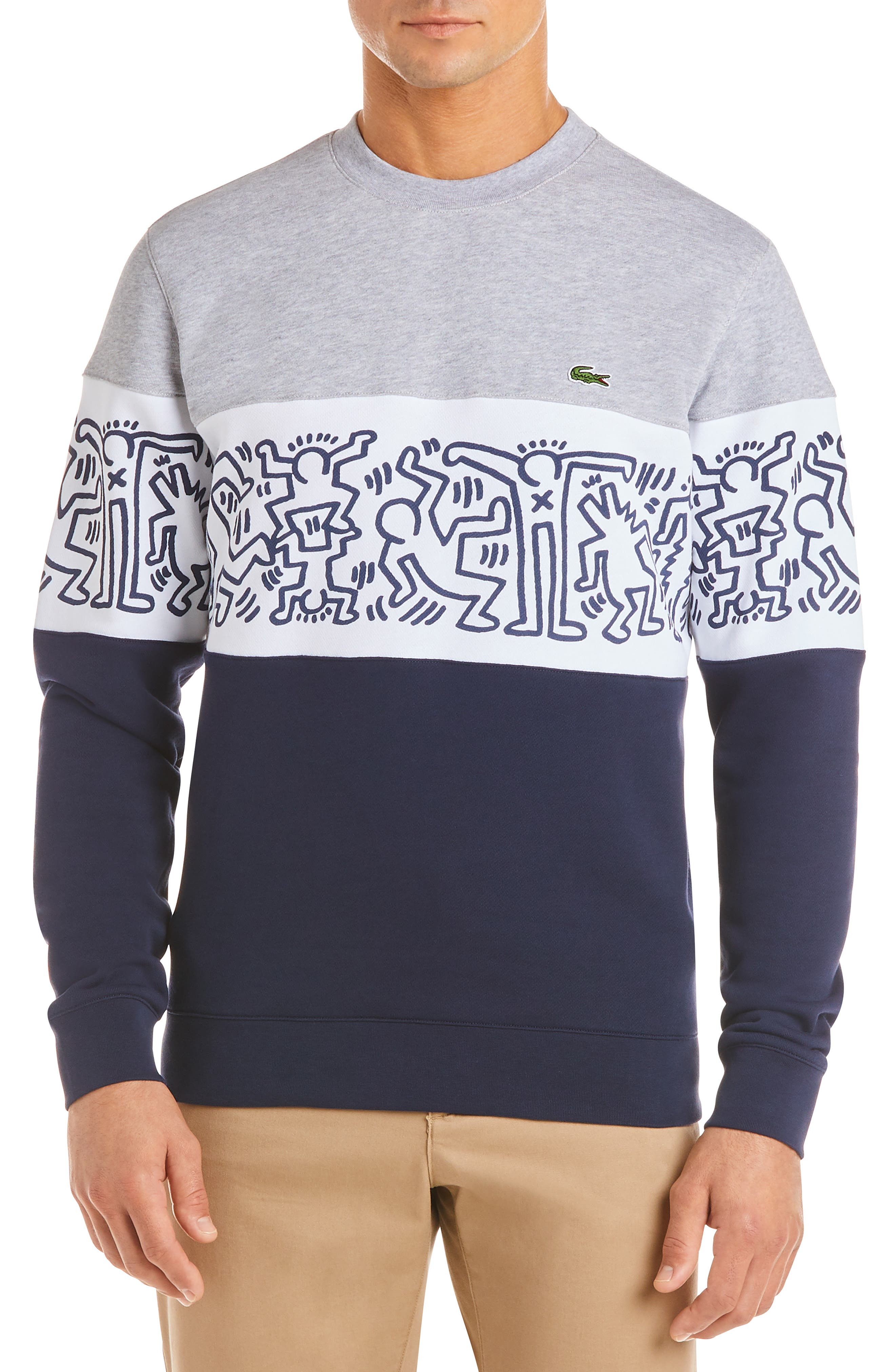 x Keith Haring Colorblock Sweatshirt, Main, color, NAVY BLUE/ WHITE-SILVER CHINE