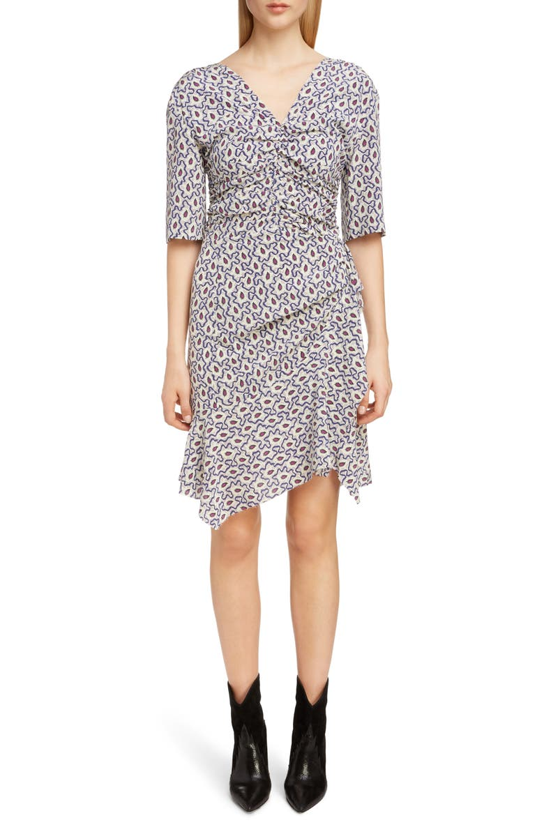 ISABEL MARANT Arodie Print Ruched Stretch Silk Dress, Main, color, 400