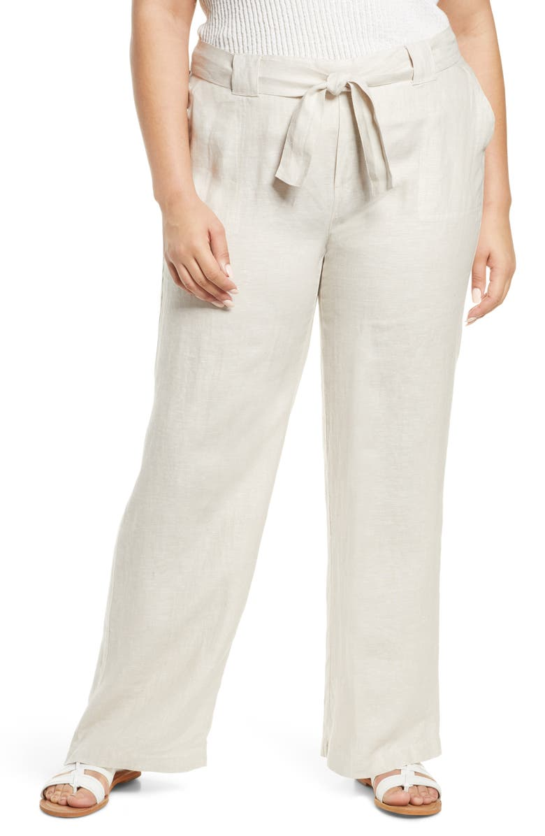 CASLON<SUP>®</SUP> New Belted Yarn Dyed Linen Pants, Main, color, FLAX