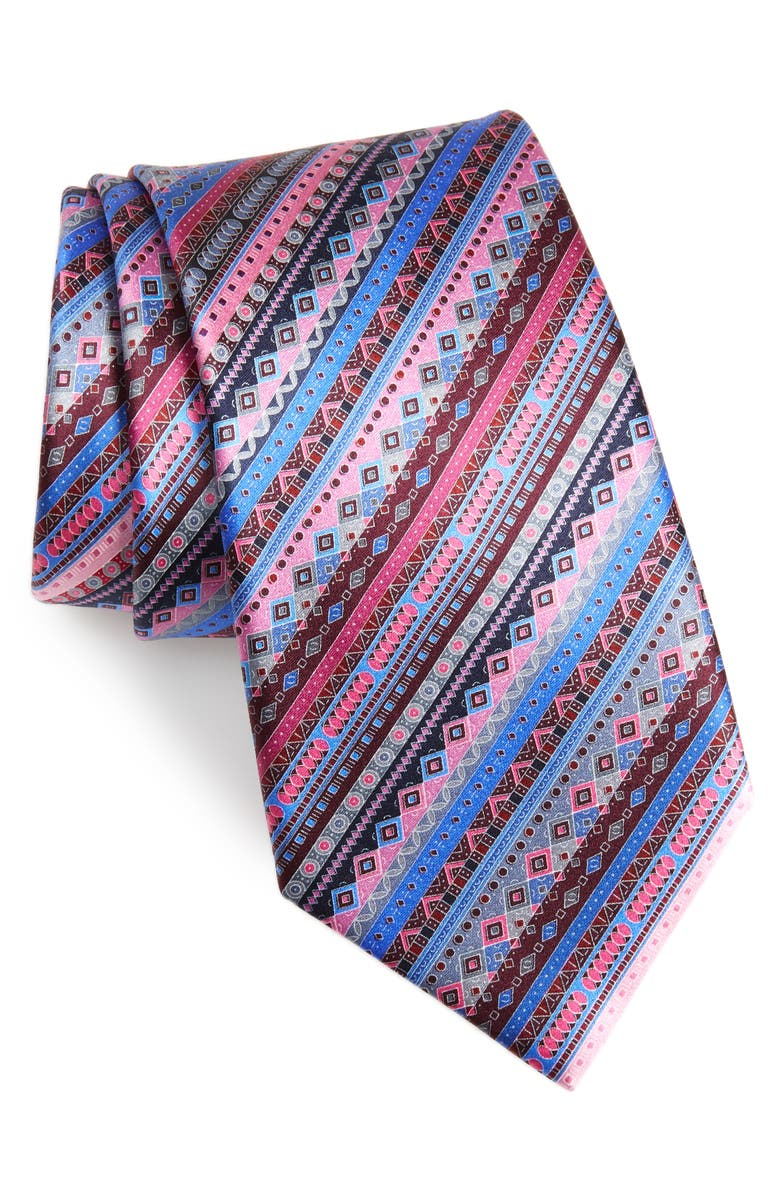 ERMENEGILDO ZEGNA Venticinque Stripe Silk Tie, Main, color, PINK