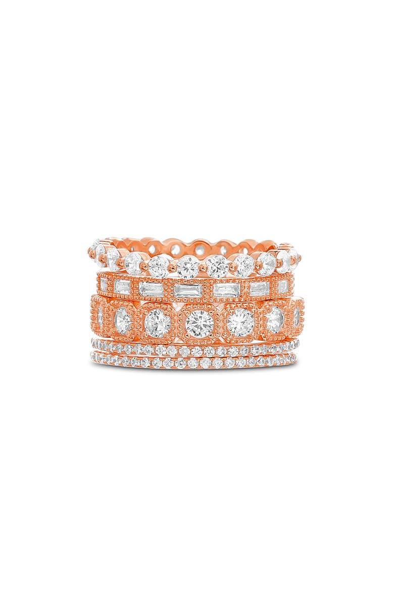 LESA MICHELE Cubic Zirconia Band Ring, Main, color, ROSE GOLD
