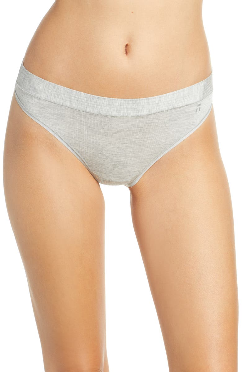 TOMMY JOHN Second Skin Luxe Rib Thong, Main, color, HEATHER GREY