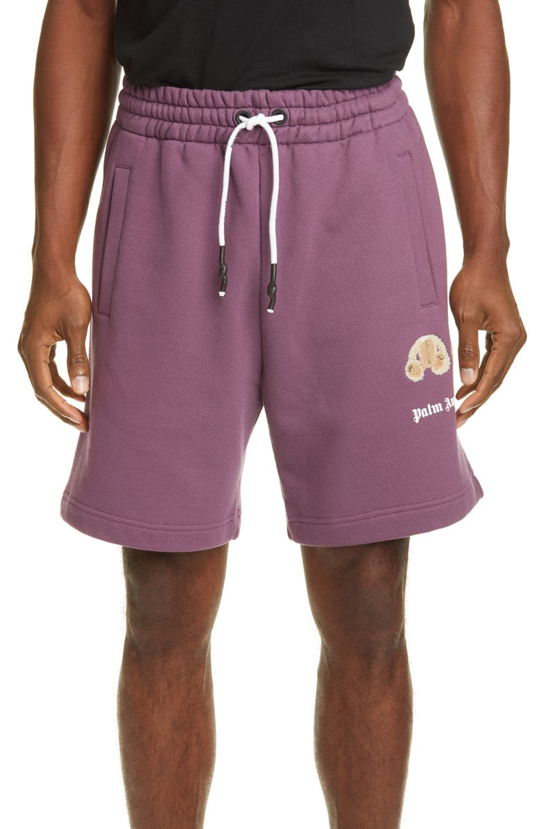 PALM ANGELS Mini Kill the Bear Bouclé Athletic Shorts, Main, color, PURPLE/BROWN