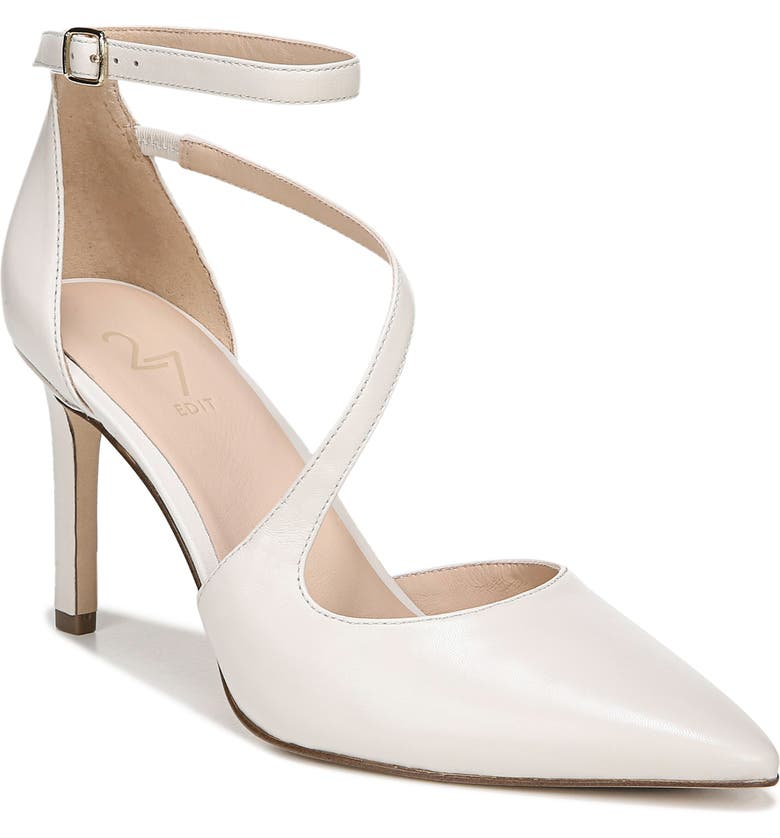 27 EDIT Abilyn Ankle Strap Pump, Main, color, ALABASTER LEATHER