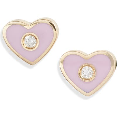 Ef Collection Enamel Diamond Heart Stud Earrings