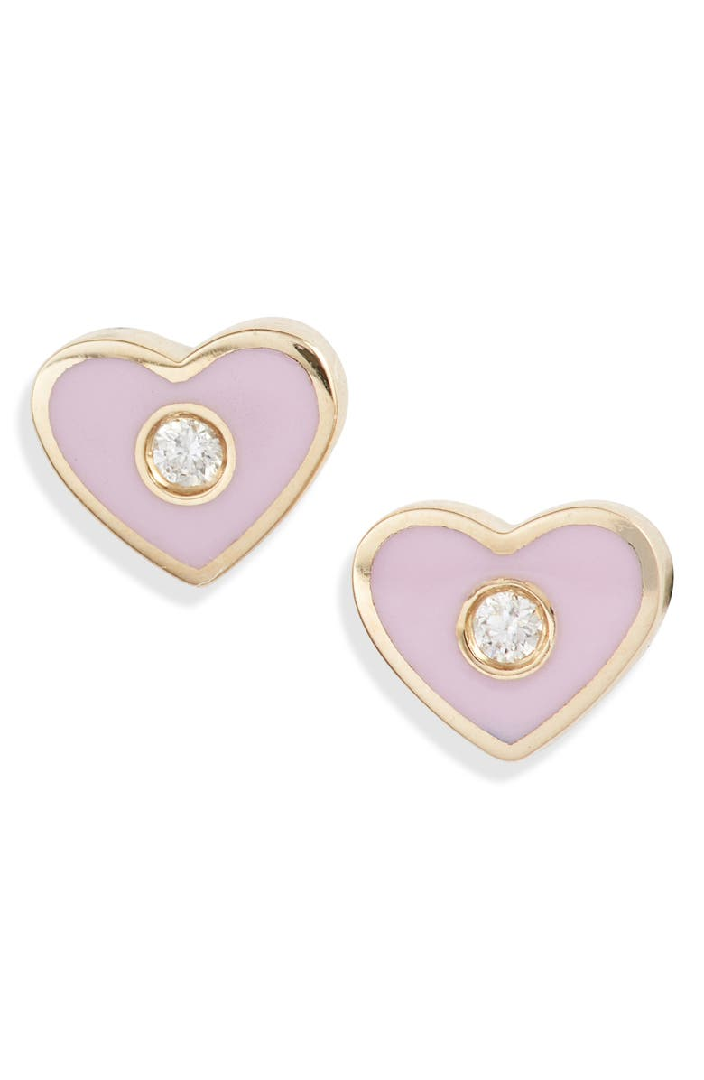 EF COLLECTION Enamel Diamond Heart Stud Earrings, Main, color, YELLOW GOLD/ PINK