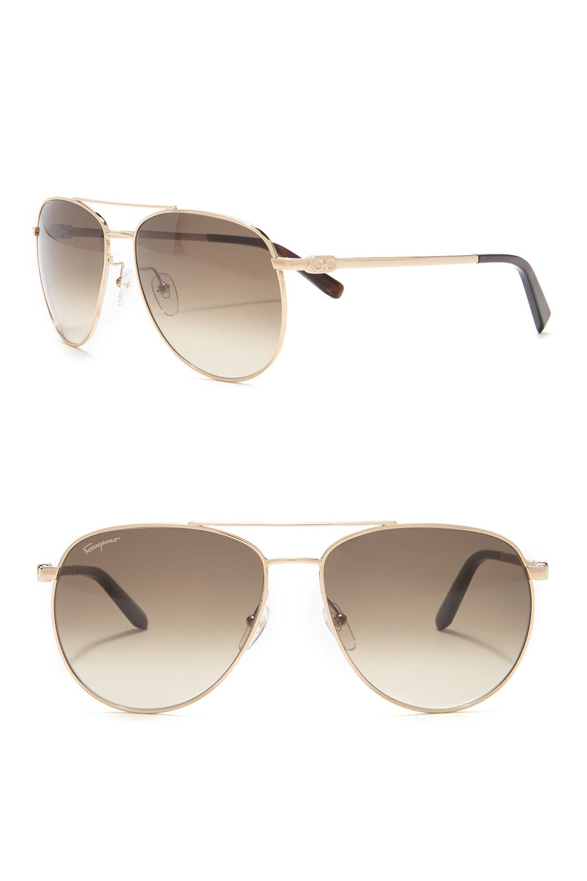 Image of Salvatore Ferragamo 60mm Aviator Sunglasses