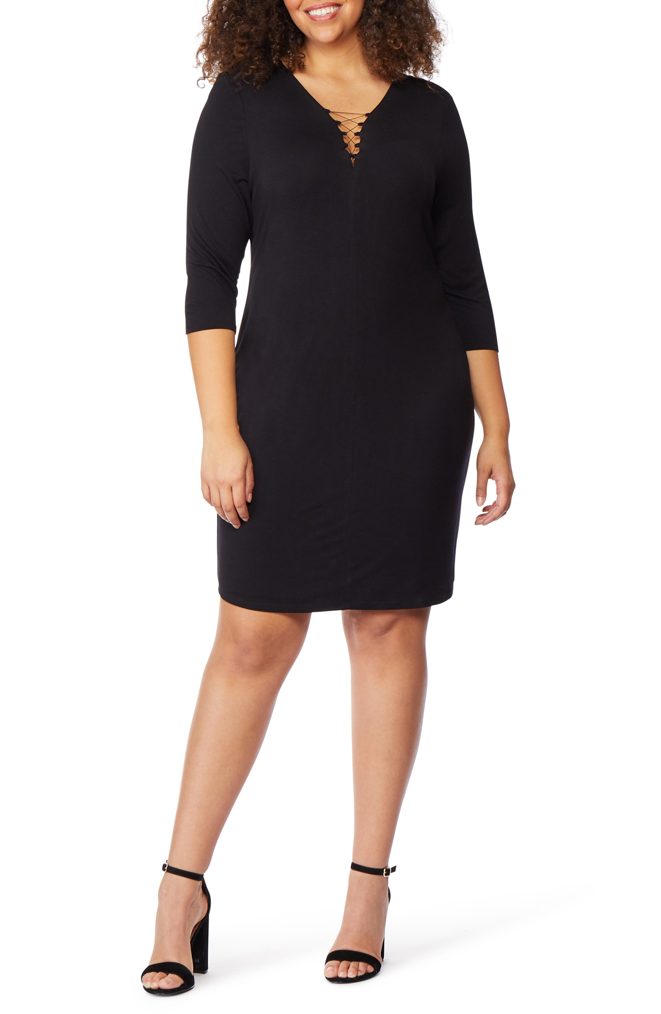Plus Size Rebel Wilson X Angels Lace-Up Fitted Dress, Black