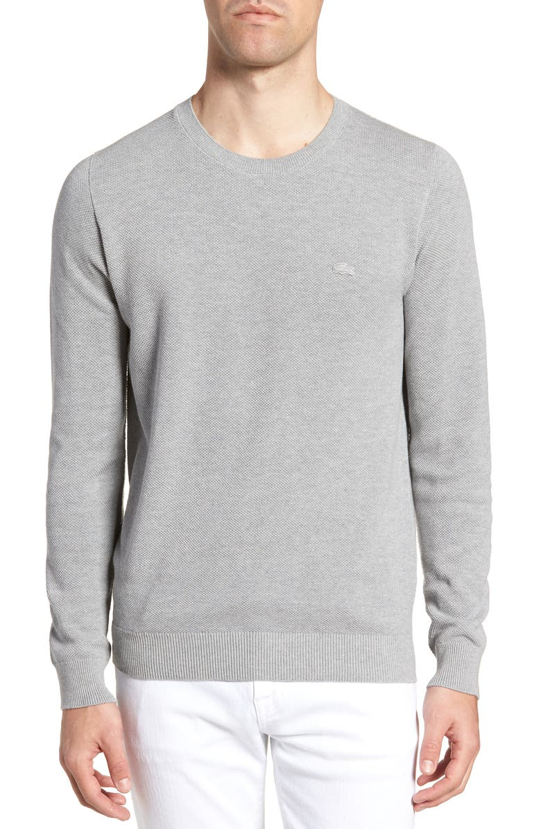 LACOSTE Piqué Cotton Sweater, Main, color, 020