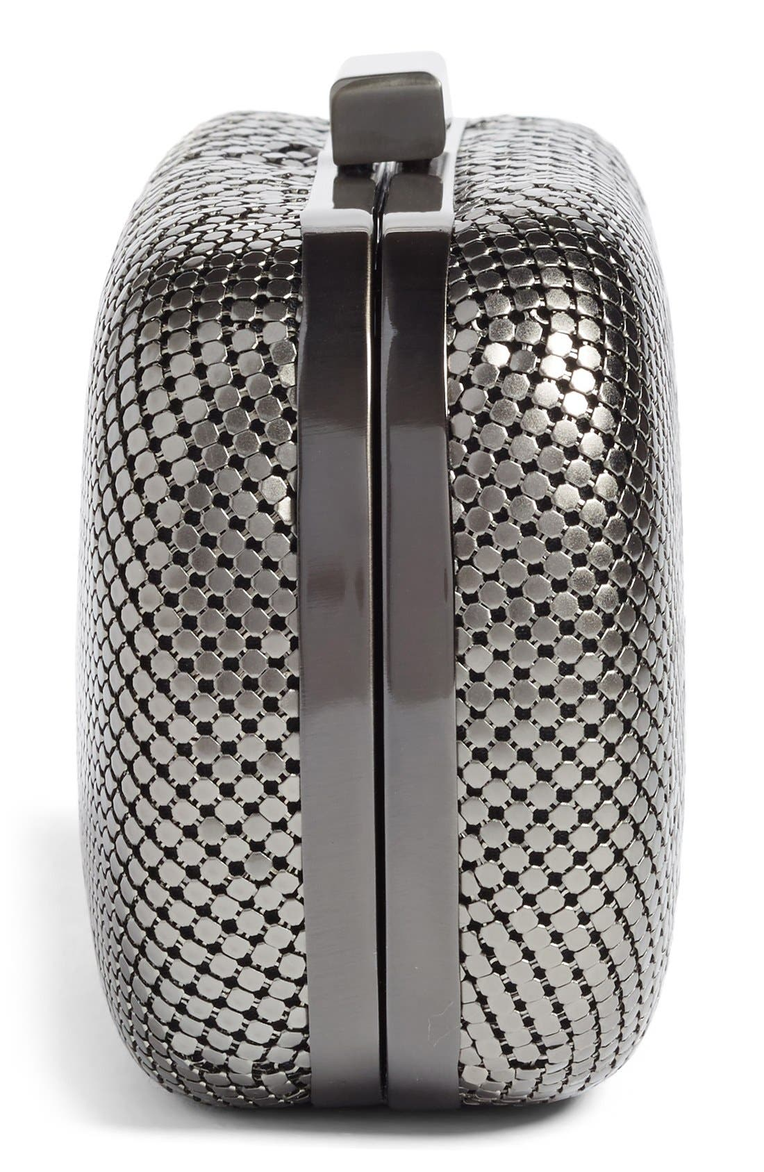 ,                             Mesh Oval Minaudière,                             Alternate thumbnail 3, color,                             GUNMETAL