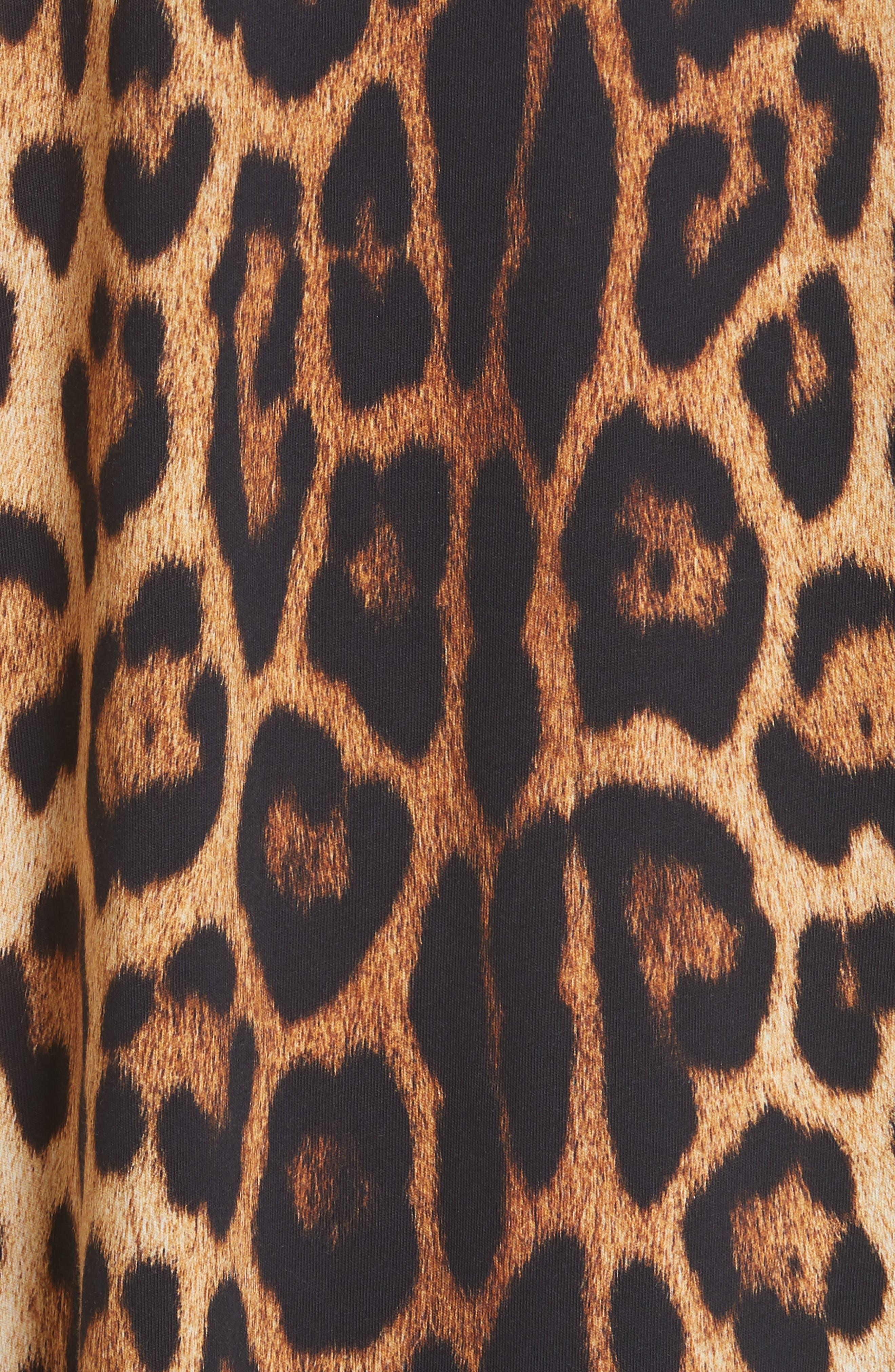 ,                             Leopard & Logo Print Oversize Tee,                             Alternate thumbnail 5, color,                             230