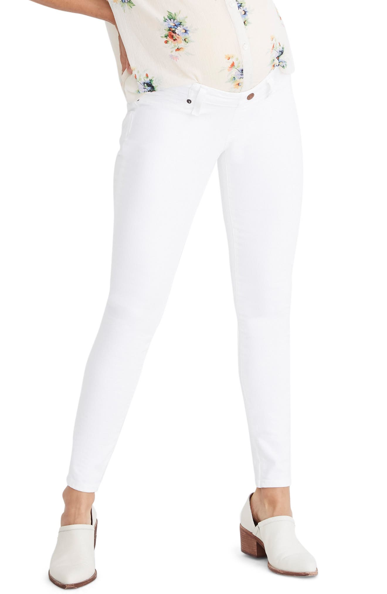 ,                             Maternity Skinny Jeans,                             Main thumbnail 1, color,                             PURE WHITE