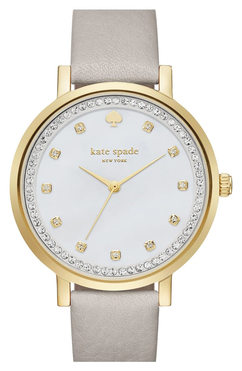 KATE SPADE NEW YORK 'monterrey' leather strap watch, 34mm, Main, color, 020
